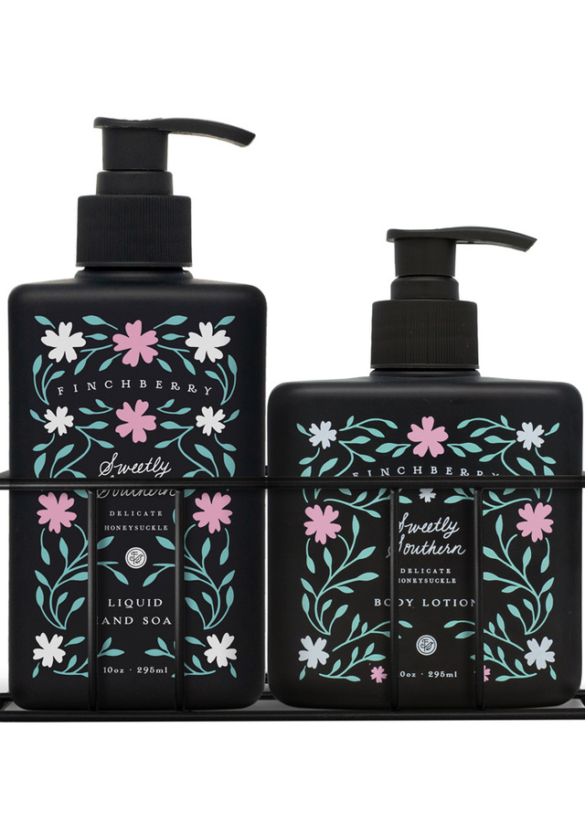 Display of Sweetly Southern Combo Caddy - Hand Wash & Body Lotion by The Flower Alley