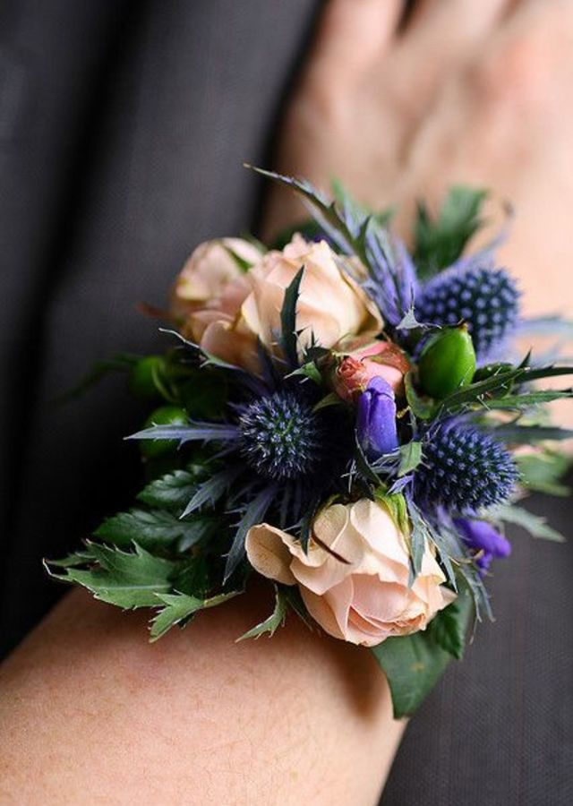Display of Textured Wrist Corsage by The Flower Alley