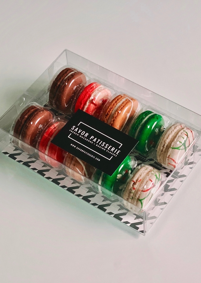 Display of The Christmas Collection Box - Gift Box of 10 French Macaron by The Flower Alley