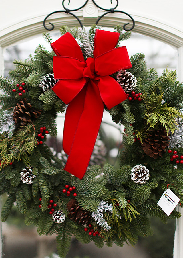 Display of The Flower Alley's Classic Christmas Wreath by The Flower Alley