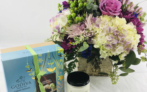 Display of Flowers, Chocolate + Candle Gift Combo by The Flower Alley