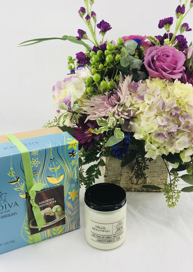Flowers, Chocolate + Candle Gift Combo by The Flower Alley