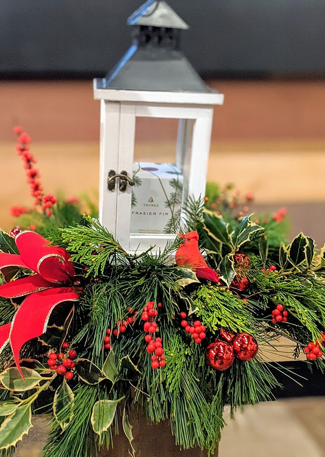 Display of Thymes Fraser Fir Candle Lantern by The Flower Alley