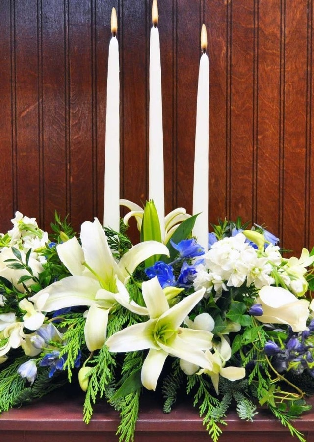 Traditional Hanukkah Table Centerpiece by The Flower Alley