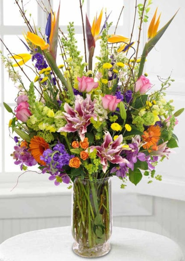 Display of Tropical Romance Bouquet by The Flower Alley