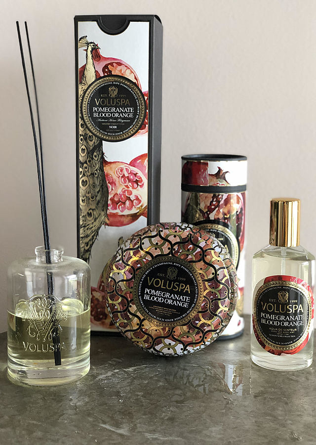 Display of Voluspa : Blood Orange Pomegranate by The Flower Alley