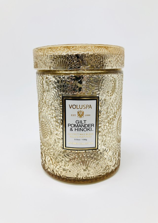 Display of Voluspa Gilt Small Glass Jar by The Flower Alley