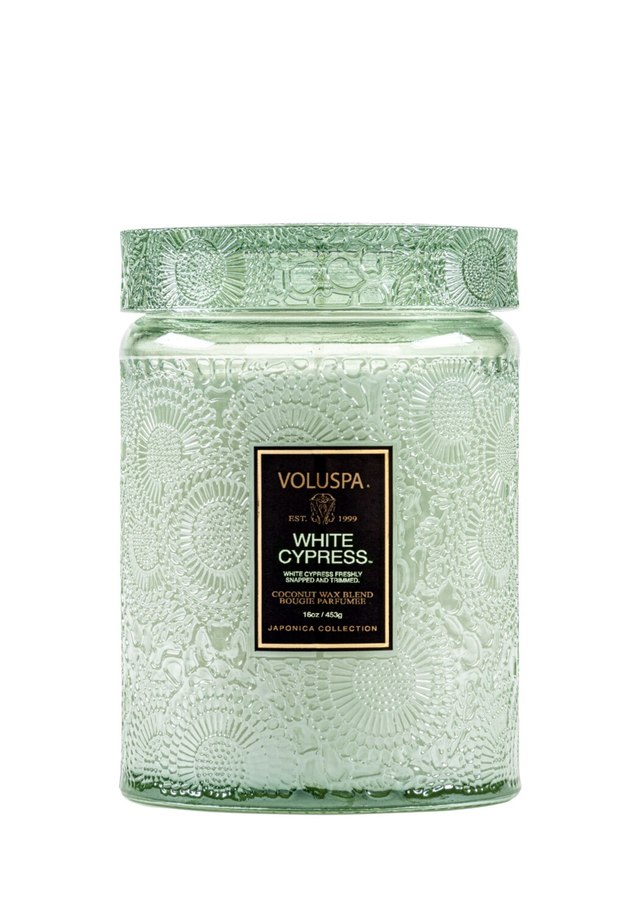Display of Voluspa White Cypress Large Glass Jar by The Flower Alley
