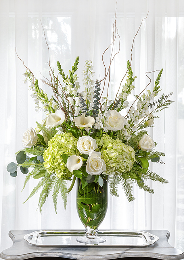 Display of White and Green Fresh Floral Vase by The Flower Alley