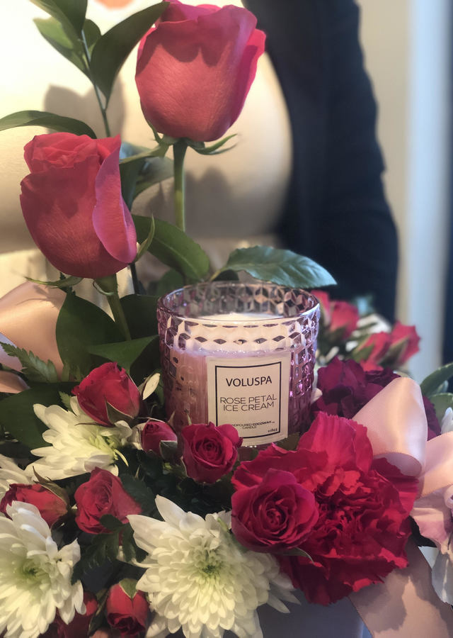 Petite Sweet : Candle + Flowers by The Flower Alley
